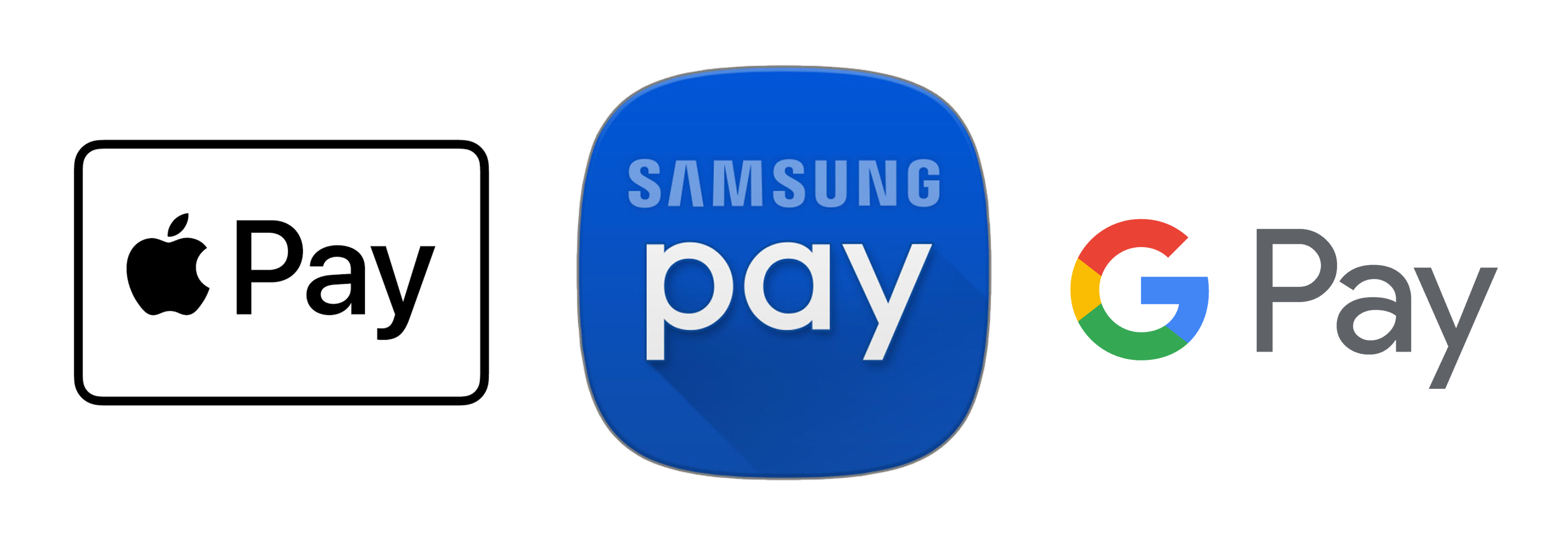 Google Pay Apple Pay Samsung Pay logos